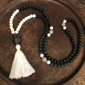 Jewelry - Onyx, Smokey Quartz, White Jade & Lava Stone Mala